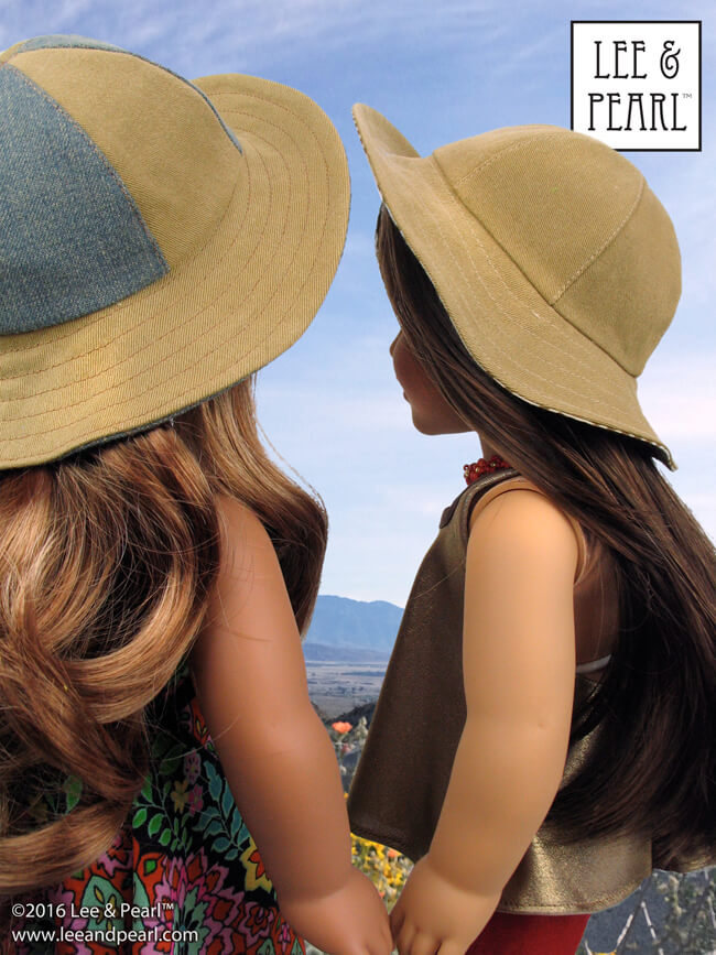 Our American Girl dolls are ready for Summer! Make your own cute sewn hats for dolls — Lee & Pearl Pattern 1017: California Girl Sun Hat for 18 Inch Dolls is now available in our Etsy shop at https://www.etsy.com/shop/leeandpearl
