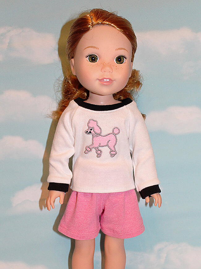 Look who's making Pearls by Lee & Pearl Pattern 101: Gym Shorts for 18 inch American Girl dolls, 16 inch A Girl for All Time dolls and 14 1/2 inch Wellie Wishers and similar dolls -- Karen L. Pearls are a new line of time- and budget-friendly patterns for doll wardrobe essentials — patterns that are also designed to teach key sewing skills. Got an hour to spare? Make yourself a perfect Pearl.