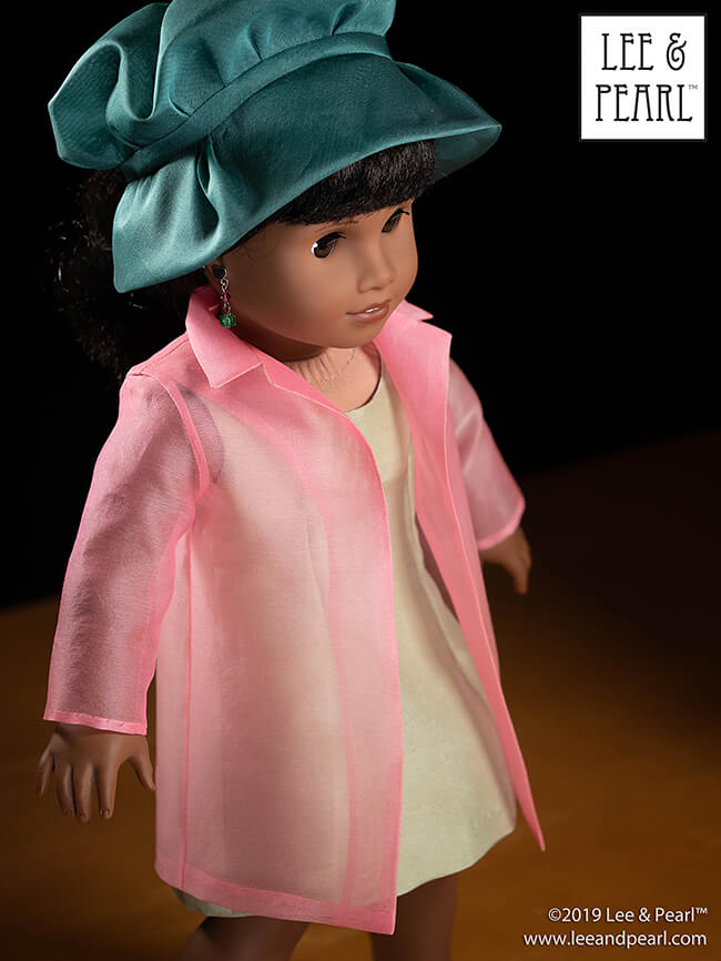 Our American Girl doll Melody is a vision of haute couture loveliness in a silk and silk organza ensemble made using Lee & Pearl patterns and our COMING SOON silk fabric kits.