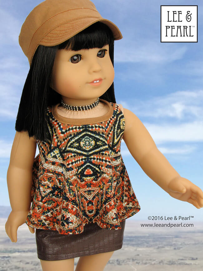 Our American Girl Ivy loves her boho-fabulous halter top, made using Lee & Pearl Pattern 1032: Desert Sunrise Maxi Dress, Halter Top and Beaded Chokers for 18 Inch Dolls. Sew out of your comfort zone with gauzy fabrics, silkies and jerseys, while still enjoying the ease of pinning and stitching to the sturdy cotton internal yoke that holds everything together. Find this pattern in our Etsy store at https://www.etsy.com/listing/397805083/lp-1032-desert-sunrise-maxi-dress-halter