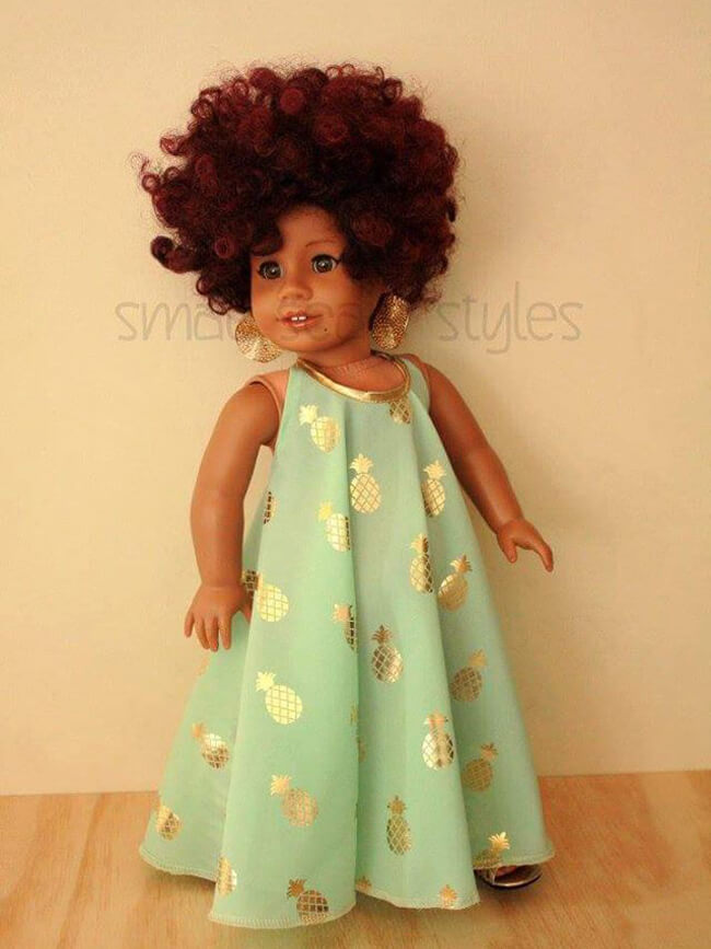 Sew stylish! Nina J of SmallScaleStyles on Etsy made this outfit for her custom American Girl doll Genesis using Lee & Pearl Pattern 1032: Desert Sunrise Maxi Dress, Halter Top and Beaded Chokers for 18 Inch Dolls. Get your own copy of this fabulous pattern in the Lee & Pearl Etsy shop at https://www.etsy.com/shop/leeandpearl