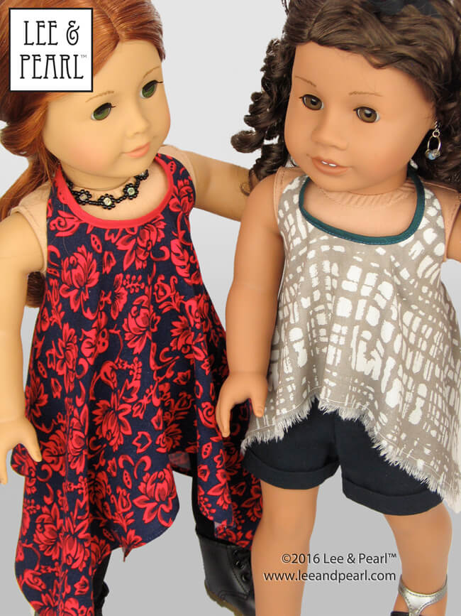 Make this trendy high-low handkerchief hem version of the Lee & Pearl Pattern 1032: Desert Sunrise Top or Maxi Dress for 18 inch dolls, like our American Girl dolls, using our FREE tweak-the-pattern directions. Get the tweak — which also includes an Empire waist adaptation — in our June 2016 newsletter, available on our website at www.leeandpearl.com. And find Pattern 1032 in our Etsy shop at https://www.etsy.com/shop/leeandpearl