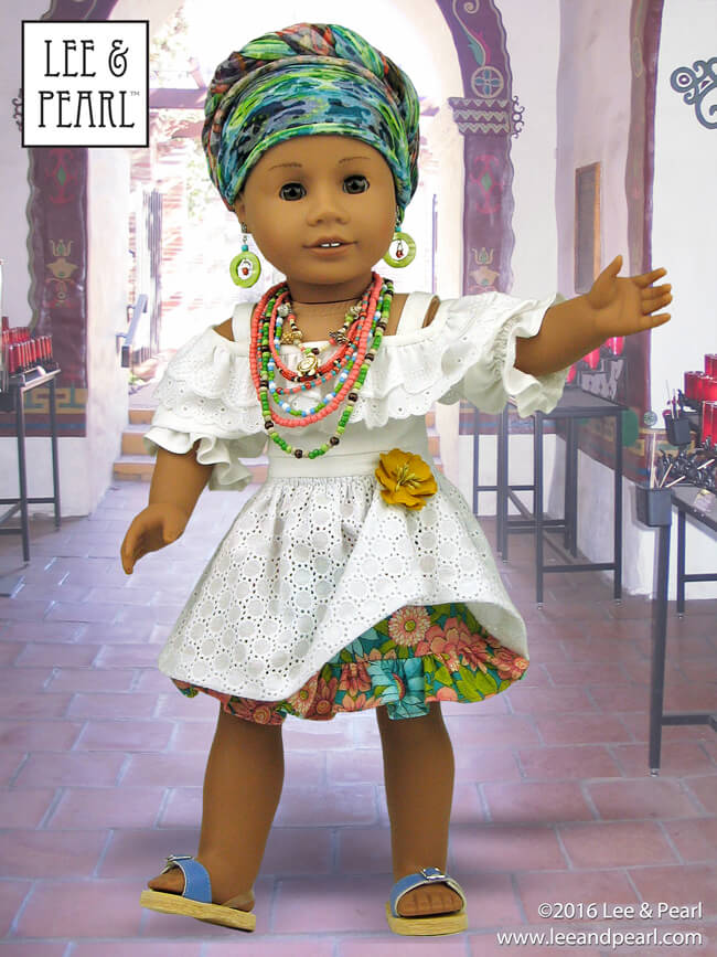 Give your American Girl doll a stunning Afro-Brazilian Baiana wardrobe using Lee & Pearl Pattern 1035: Olá Brasil! Off-the-Shoulder Samba Top and Bahia Dress, and Traditional Brazilian Baiana Headwrap for 18 Inch Dolls. Find this unique and lovely pattern in the Lee & Pearl Etsy store at https://www.etsy.com/listing/540262695/lp-1035-ola-brasil-off-the-shoulder