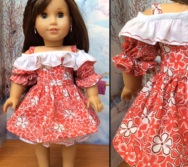 Melangell made this crisp, red-and-white Hawaiian print dress for her American Girl doll using our 2016 FREE pattern for Lee & Pearl mailing list subscribers — 1035: Olá Brasil! Samba Top, Bahia Dress, Baiana Headwrap and Jewelry Tutorials for 18 Inch Dolls. Join our mailing list at www.leeandpearl.com to get your own copy of this wonderful pattern!