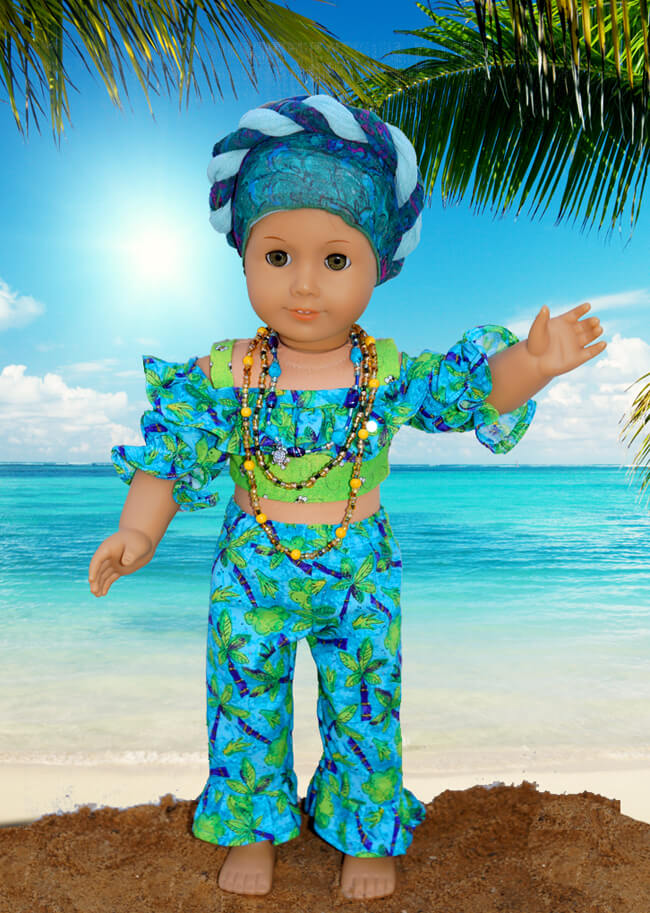Vicky (honeychile on Etsy) made this picture-perfect ensemble for her American Girl doll using our 2016 FREE pattern for Lee & Pearl mailing list subscribers — 1035: Olá Brasil! Samba Top, Bahia Dress, Baiana Headwrap and Jewelry Tutorials for 18 Inch Dolls. Join our mailing list at www.leeandpearl.com to get your own copy of this wonderful pattern!