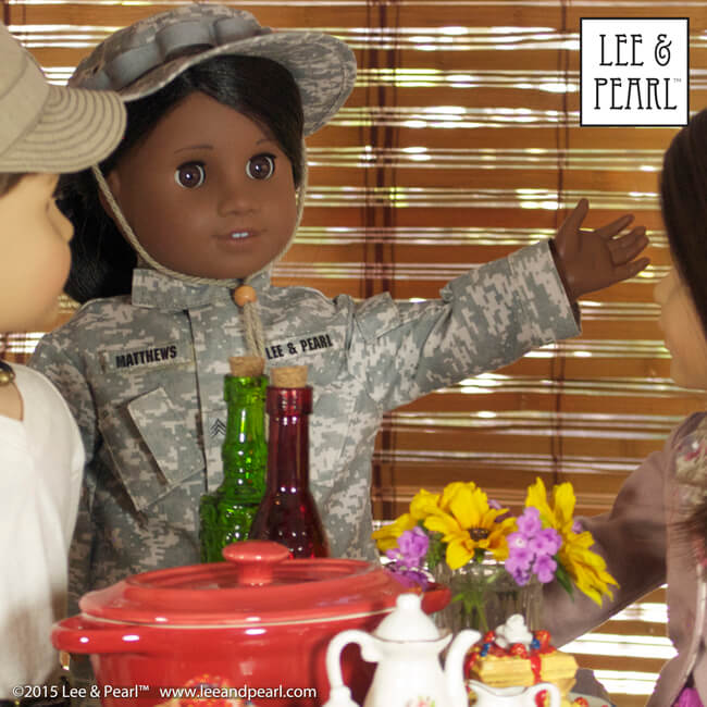 "Our Sgt. Matthews is home for the holidays! Our American Girl Sonali wears a replica U.S. Army uniform made using Lee & Pearl Pattern 1010: Army Combat Uniform for 18"" Dolls and a hat made using Pattern 1007: Bush Hat or ""Boonie"" for 18"" Dolls. Her friends wear casual outfits made using Lee & Pearl Patterns 1001, 1004, 1006 and 1943. All Lee & Pearl patterns are available in our Etsy store at https://www.etsy.com/shop/leeandpearlOur Sgt. Matthews is home for the holidays! Our American Girl Sonali wears a replica U.S. Army uniform made using Lee & Pearl Pattern 1010: Army Combat Uniform for 18"" Dolls and a hat made using Pattern 1007: Bush Hat or ""Boonie"" for 18"" Dolls. Her friends wear casual outfits made using Lee & Pearl Patterns 1001, 1004, 1006 and 1943. All Lee & Pearl patterns are available in our Etsy store at https://www.etsy.com/shop/leeandpearl"