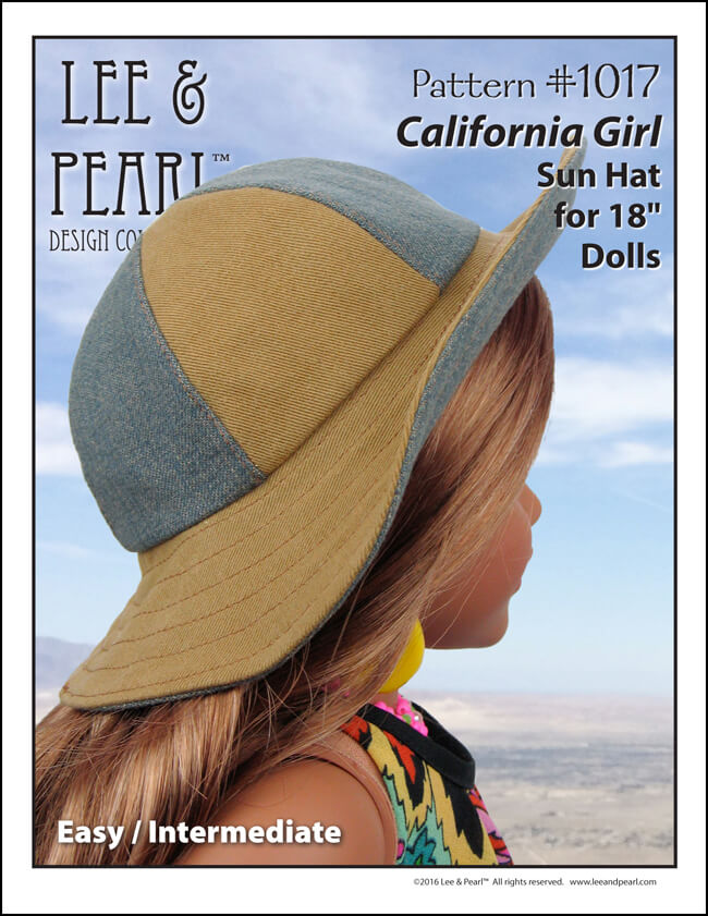 Our American Girl doll is ready for Summer! Make your own cute sewn hats for dolls — Lee & Pearl Pattern 1017: California Girl Sun Hat for 18 Inch Dolls is now available in our Etsy shop at https://www.etsy.com/shop/leeandpearl