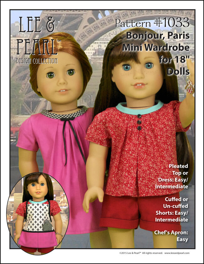 Stylish summer basics for 18 Inch American Girl dolls! Pattern 1033: Bonjour, Paris from Lee & Pearl includes these perfectly fitted cuffed shorts and an adorable pleat front blouse or tunic dress with a rolled collar, tulip sleeves and ribbon trim. Find this pattern in the Lee & Pearl Etsy store at https://www.etsy.com/listing/267357348/lp-1033-bonjour-paris-wardrobe-pattern