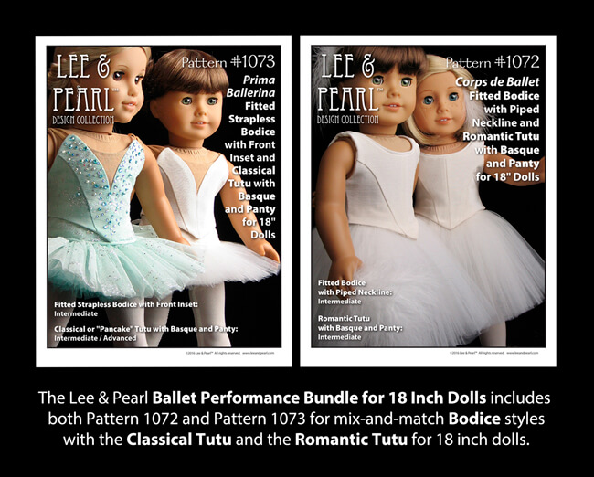The Lee & Pearl BALLET PERFORMANCE BUNDLE for 18 Inch Dolls includes Pattern 1072: Corps de Ballet Fitted Bodice and Romantic Tutu and Pattern 1073: Prima Ballerina Strapless Bodice and Classical Tutu, Panty and Basque. Find this bundle in our Etsy shop at https://www.etsy.com/listing/271748202/ballet-performance-bundle-for-18-dolls