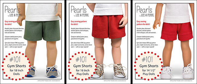"Introducing Pearls by Lee & Pearl™ Pattern 101: Gym Shorts for 18 inch, 16 inch and 14 1/2 inch dolls. Pearls are patterns for people who want to learn new sewing skills — just one at a time, on a limited project, and with a well-designed reward after each lesson! Find ""Pearls"" for American Girl, A Girl for All Time and Wellie Wisher dolls and others in the Lee & Pearl Etsy store."